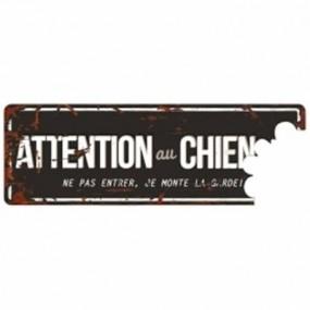 PLAQUE ATTENTION CHIEN 40X 13 NOIR