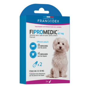 Pipettes Fipromedic Duo 67mg pour petits chiens x2